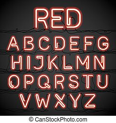Red neon light alphabet