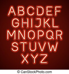 Red neon light glowing alphabet