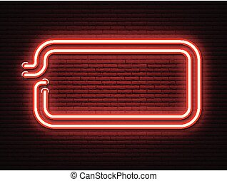 Red neon luminous signboard on realistic bricklaying wall. ...
