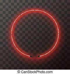 Red neon round frame, template on transparent background