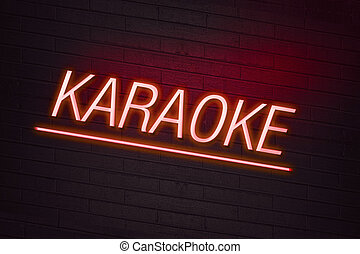 Red neon sign with karaoke text on wall