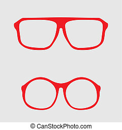 Red nerd or hipster vector glasses