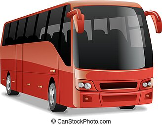 new modern comfortable city bus - red new modern comfortable...