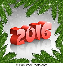 Red New Year 2016 and X-mas tree frame
