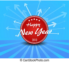 Red New year label on blue background arrows.