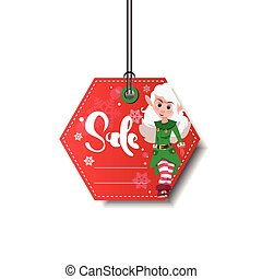 Red New Year Sale Tag With Elf Girl Isolated On White Background