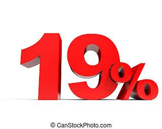 Red nineteen percent off. Discount 19%. 3D illustration.