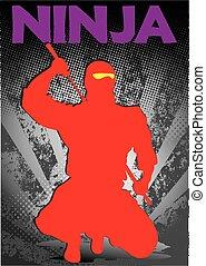 red ninja poster katana sword