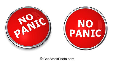 Red No Panic Button - red rendered 3d button with white word...