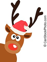 red nose - vector red nose reindeer