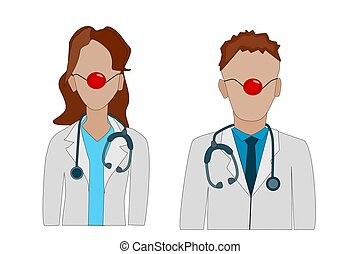 Red Nose Day. Doctor with a red clown nose in a white coat with a stethoscope isolated on white background.
