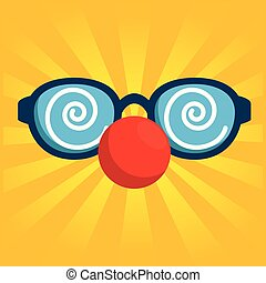 fool clown glasses with red nose