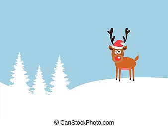 red nose deer - vector red nose reindeer