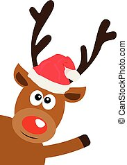 red nose deer - vector funny red nose reindeer