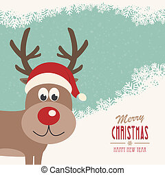 red nose reindeer santa hat snowy winter background