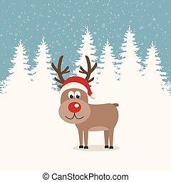 red nose reindeer santa hat winter background