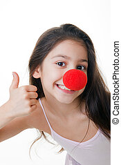 red nose thumbs up