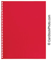 Red note paper, single sheet of blank torn jotter notebook background texture, isolated