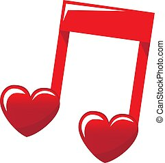 red note symbolizing love music with hearts on a white background