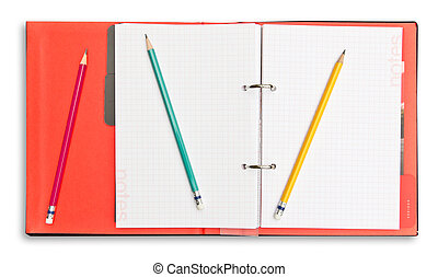 red notebook and pencil isolated with clipping path