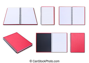 red notebook collection isolated on white background
