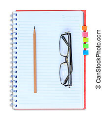 red notebook pencil and eyeglasses isolated on white background
