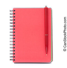 Red notebook with black pen