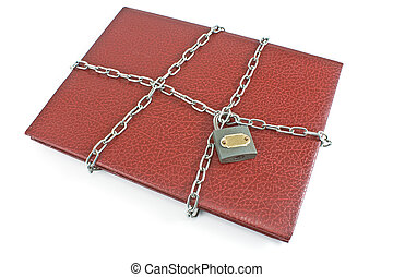 Red notebook with padlock and chain isolated on white