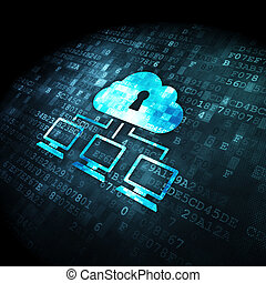 red, nube, plano de fondo, tecnología digital, concept: