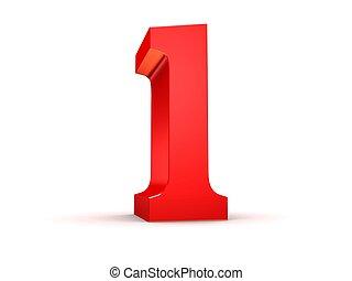 red number - 1 - 3d rendered illustration of a red number