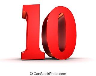 red number - 10 - 3d rendered illustration of a red number