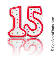 Red number 15 with reflection on a white background