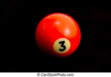 Billiard Ball - Red Number 3 Billiard Ball