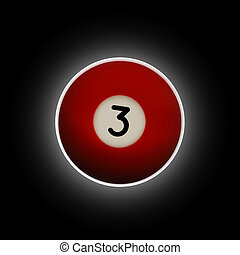 Red number 3 pool ball on a black background
