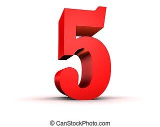 red number - 5 - 3d rendered illustration of a red number