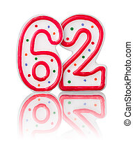 Red number 62 with reflection on a white background