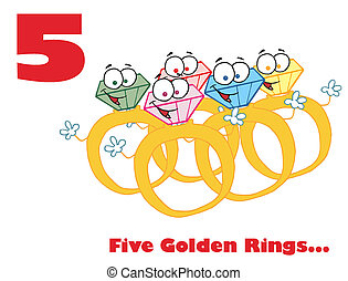 Red Number Five And Text Over Gold Rings