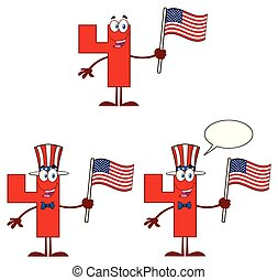 Red Number Four Cartoon Mascot Character Set 3. Vector Collection