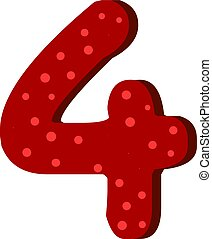 Red number four with dots, illustration, vector on white background.
