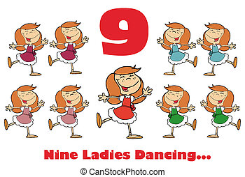 Red Number Nine And Text Over Nine Ladies Dancing