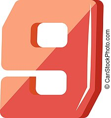 Red number nine illustration vector on white background