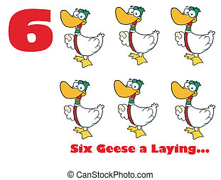 Red Number Six By Geese Laying Eggs - Red Number Six With...