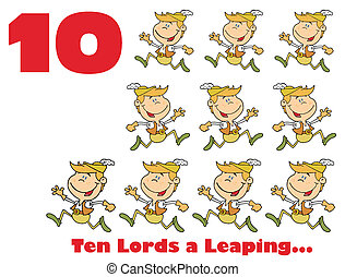 Red Number Ten And Text By Lords A Leaping