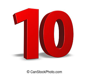 number ten - red number ten on white background - 3d...