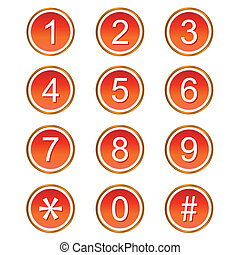 Red numbers icons - Red numbers web icons on a white...
