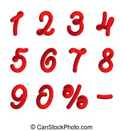 Red numbers in 3d style
