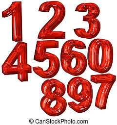 numerals  - Red numerals for education in a school