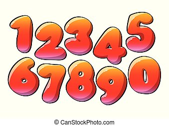 Red Numerical digits. Holiday and party. Vector illustration