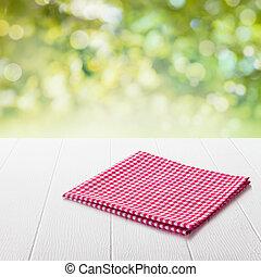 red och white, rutig, tyg, på, a, trädgård tabell