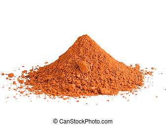 A pile of red ochre powdered pigment isolated on a white background